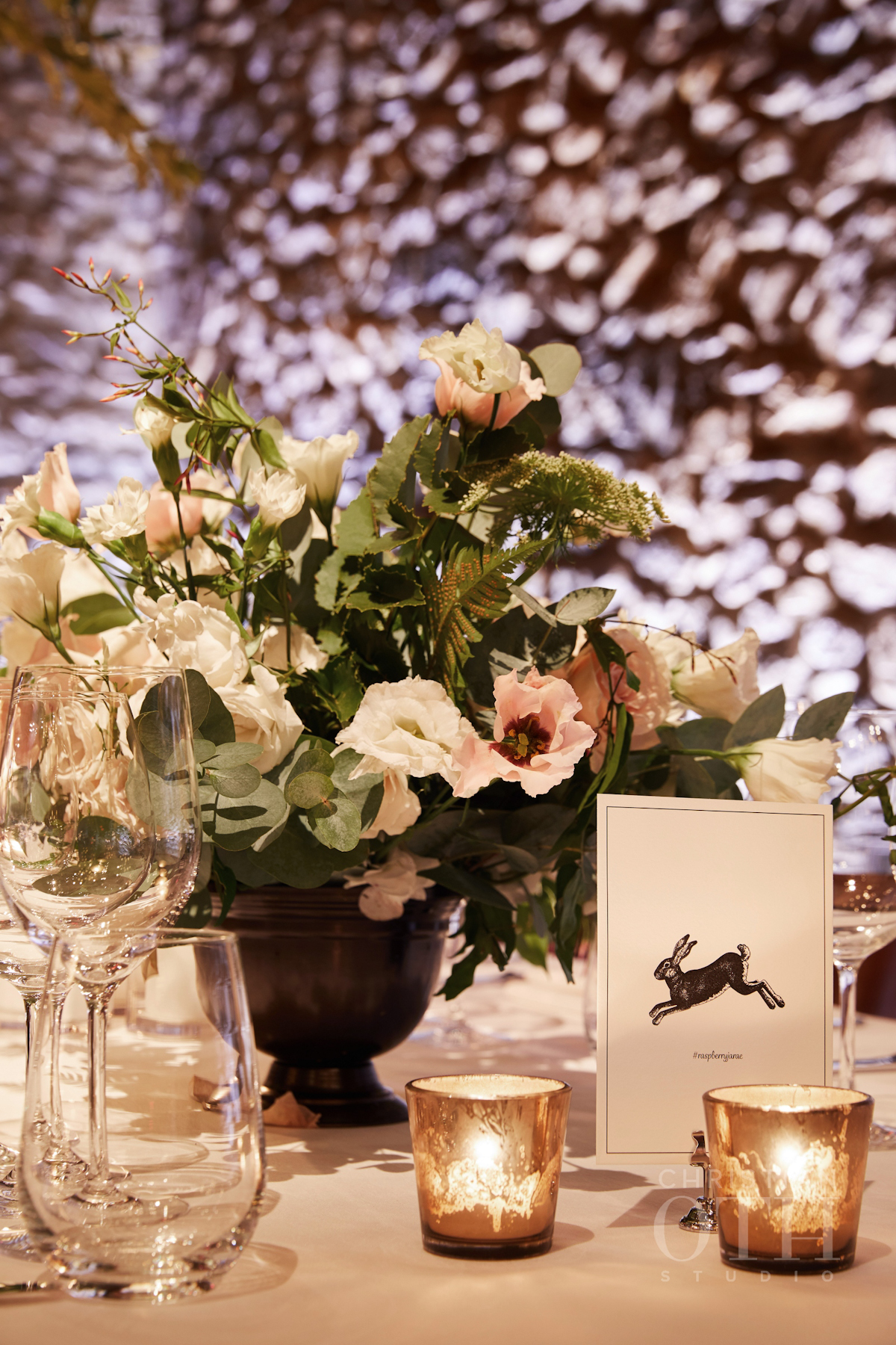 Flowers and table names at Blue Hill at Stone Barns wedding