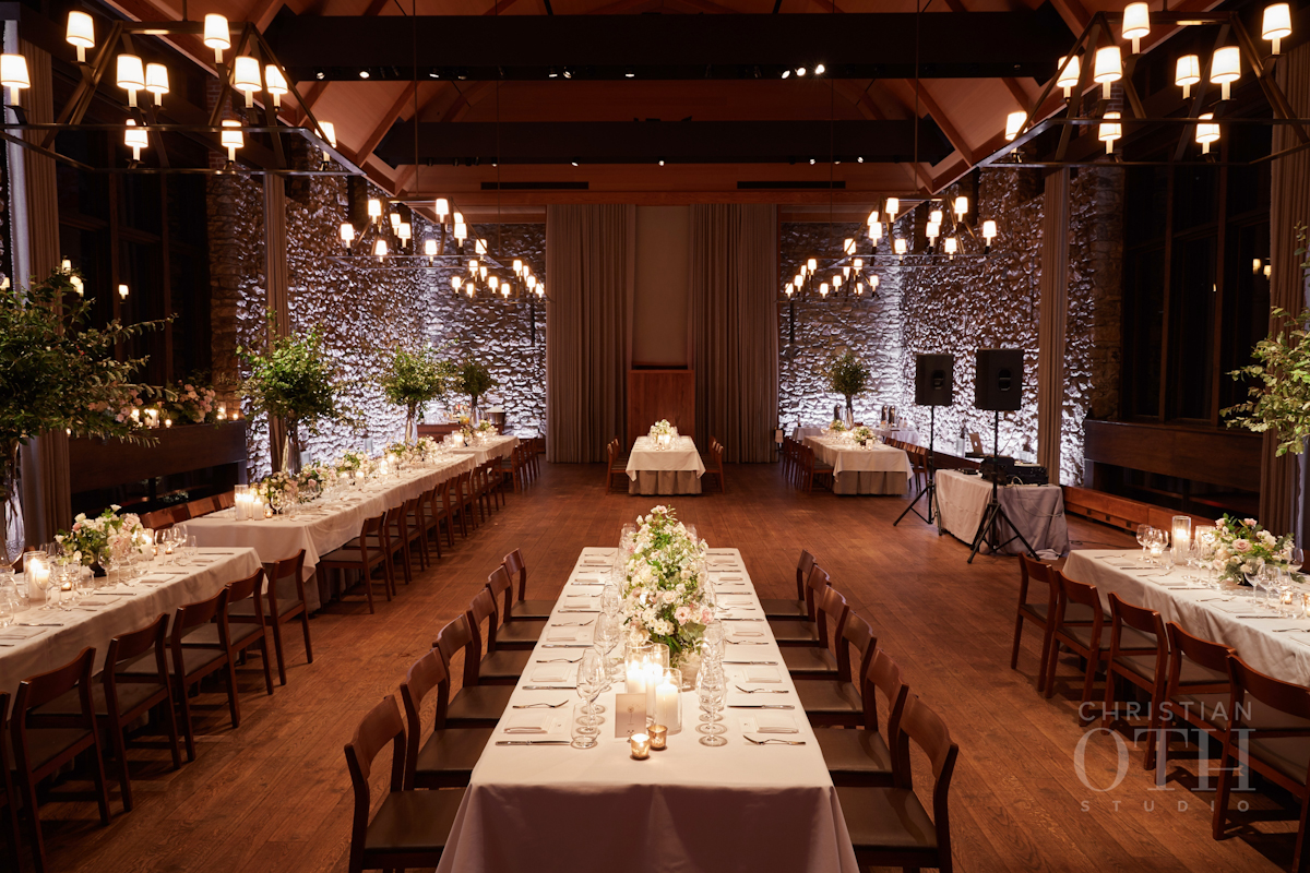 Long dramatic tables at Blue Hill at Stone Barns wedding