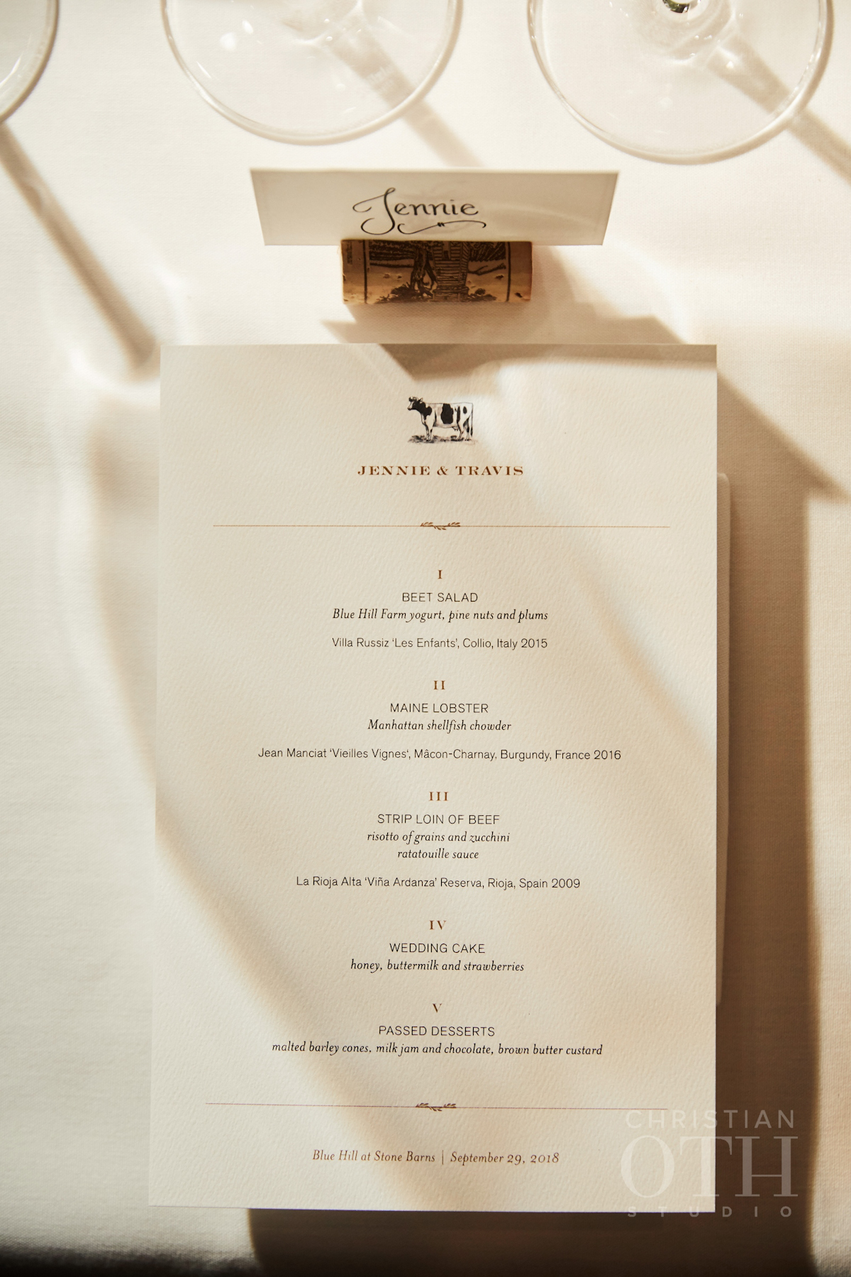 Blue Hill at Stone Barns wedding printed menu and place card