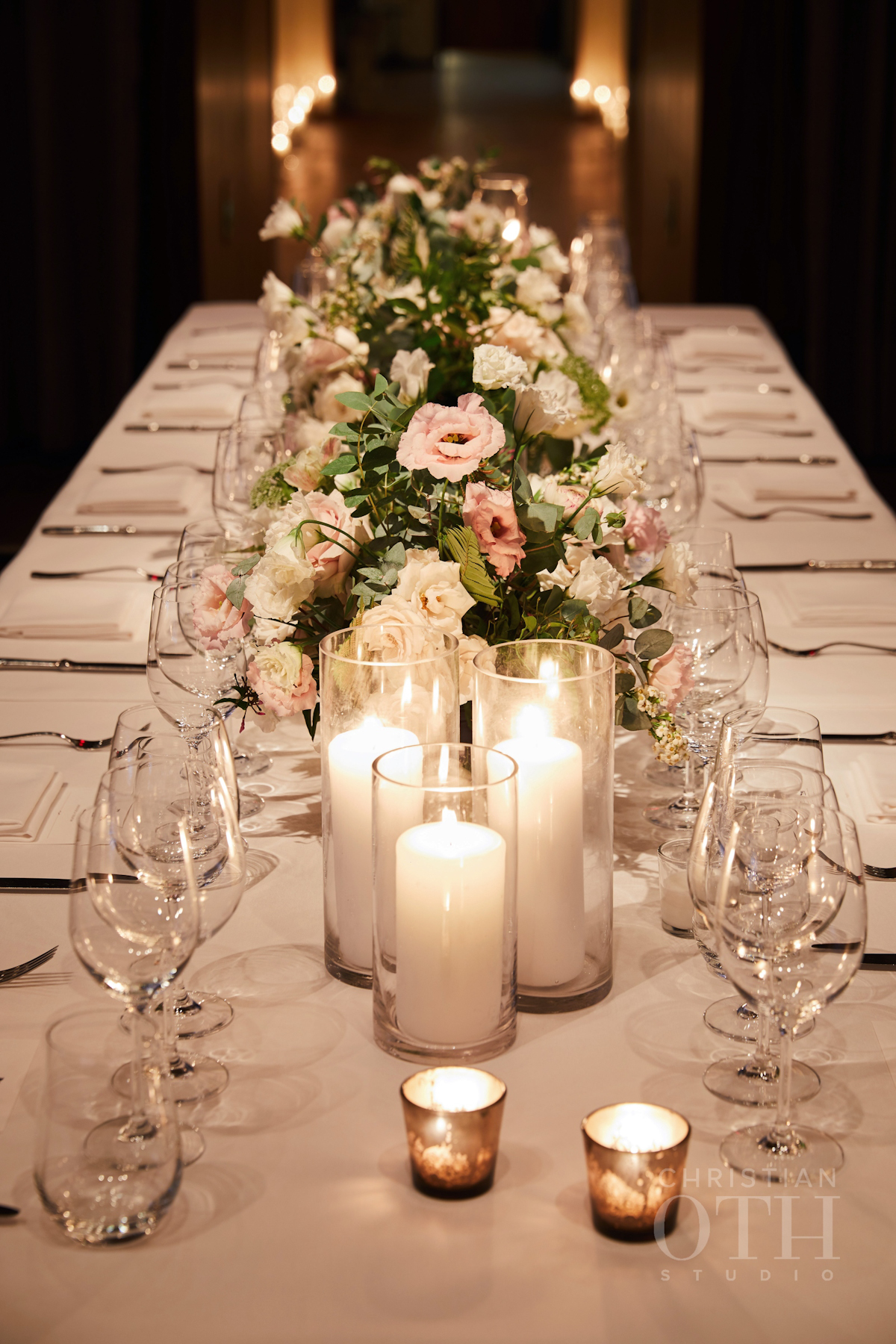 Blue Hill at Stone Barns wedding with pillar candles and flowers