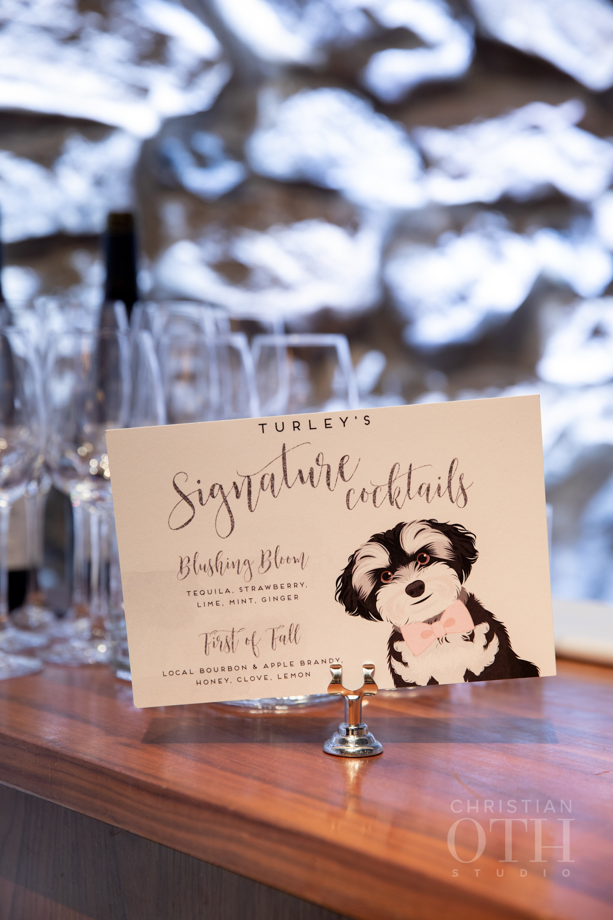 Signature cocktail sign with illustrated dog at Blue Hill at Stone Barns wedding