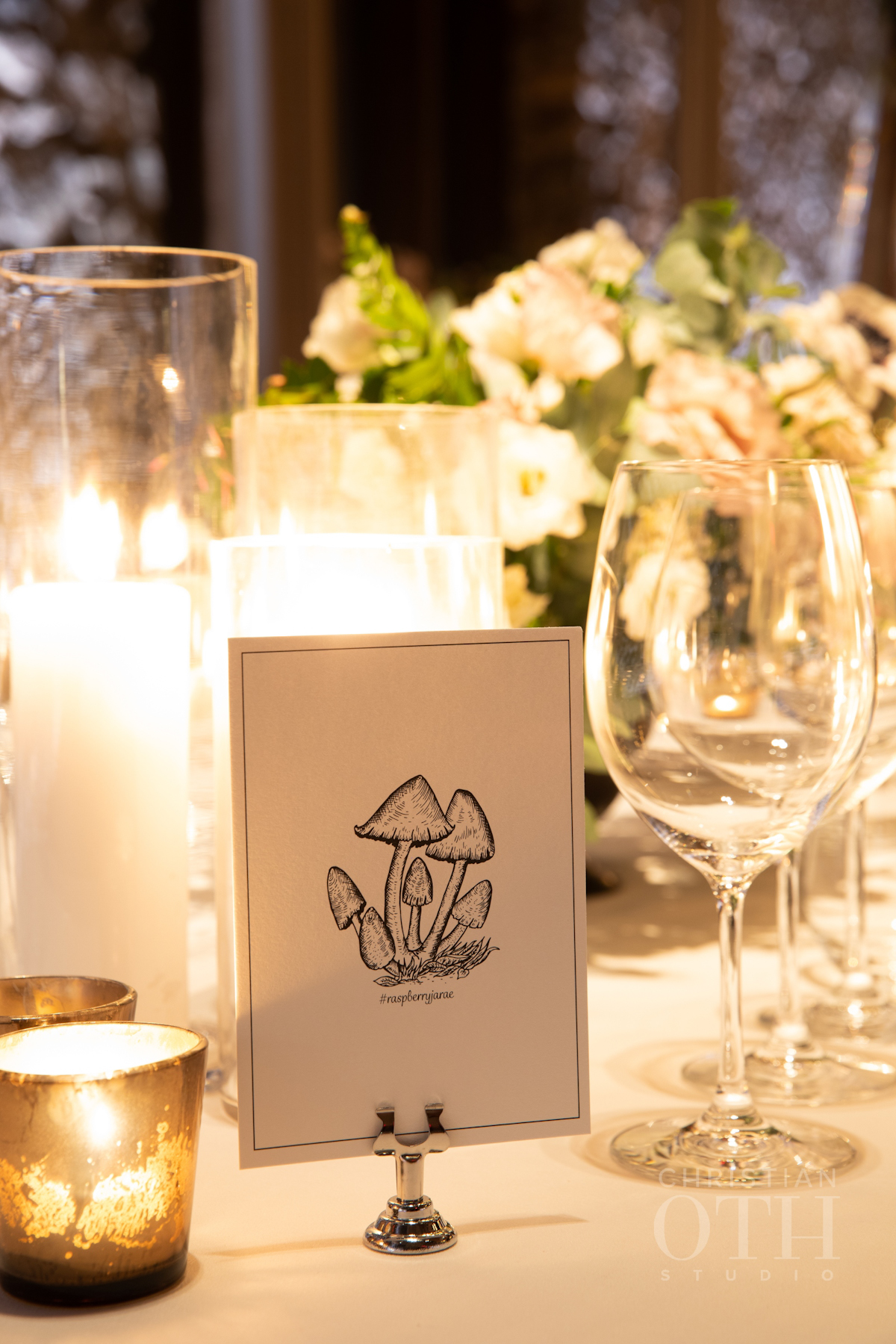 Table name with mushrooms at Blue Hill at Stone Barns wedding