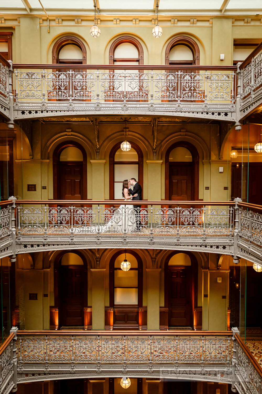 Bride and groom kiss at Beekman Hotel