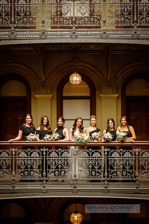 Cipriani wedding bride and bridesmaids wearing black