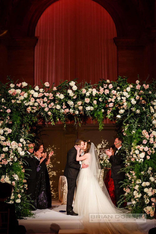 Cipriani wedding ceremony kiss