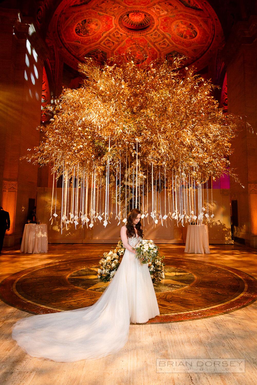 Cipriani wedding bride with gold escort tree