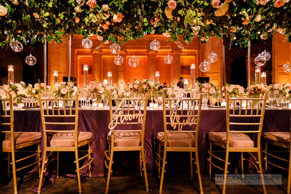 Cipriani 25 Broadway Wedding bride and groom chair signs