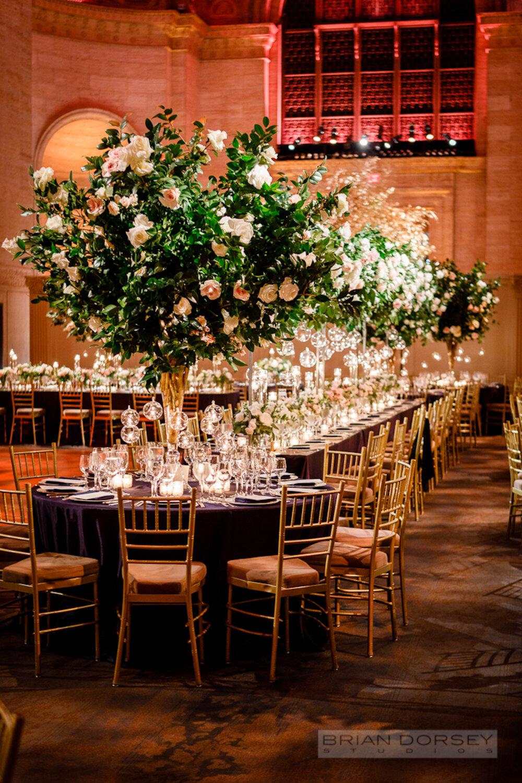 Cipriani 25 Broadway Wedding tall branch centerpiece
