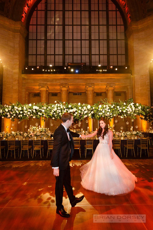 Cipriani 25 Broadway Wedding bride and groom dancing