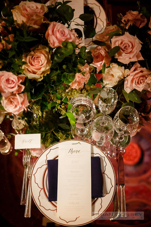 Cipriani 25 Broadway Wedding place setting and menu