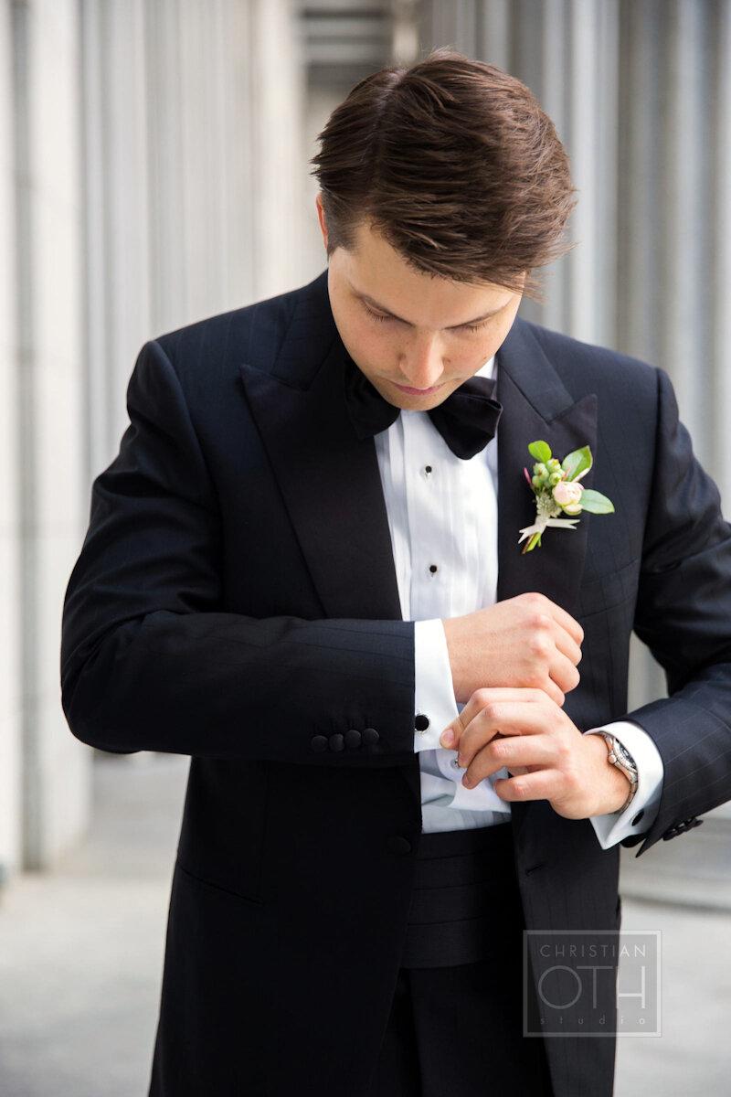Cipriani Wall Street Wedding groom in tuxedo