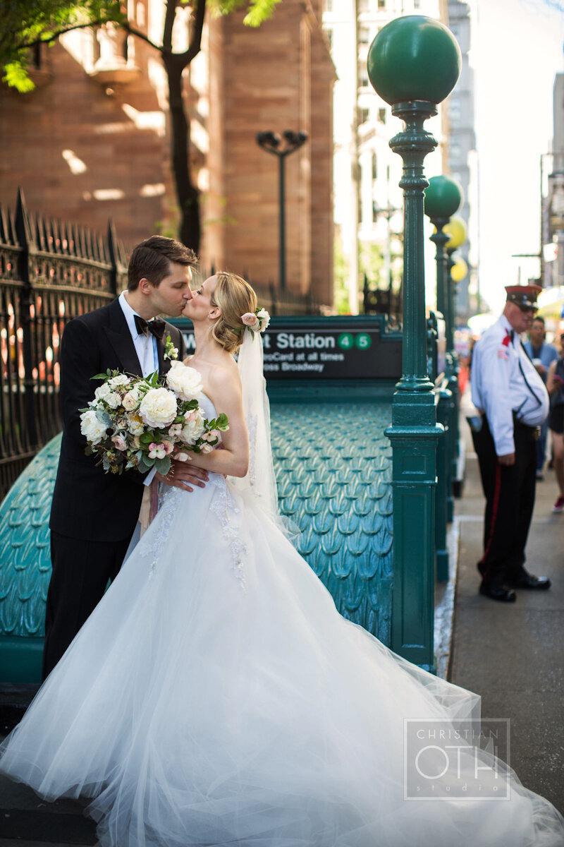 Cipriani Wall Street Wedding bride and groom kiss