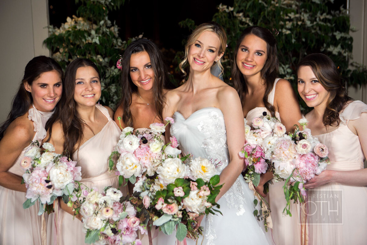 Cipriani Wall Street Wedding bride and bridesmaids holding bouquet