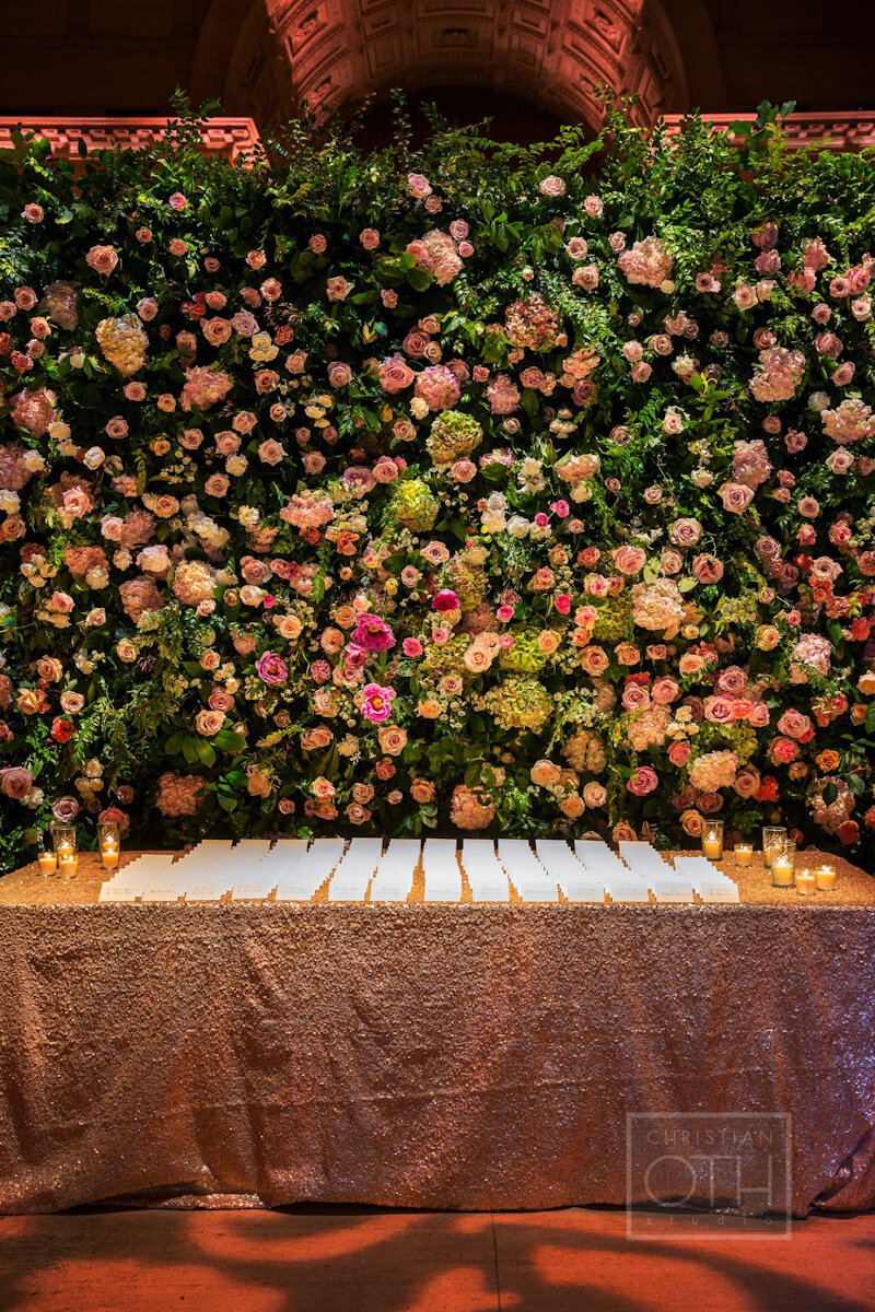 Cipriani Wall Street Wedding flower wall and escort table