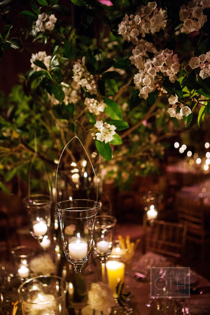 Cipriani Wall Street Wedding flowers and candles