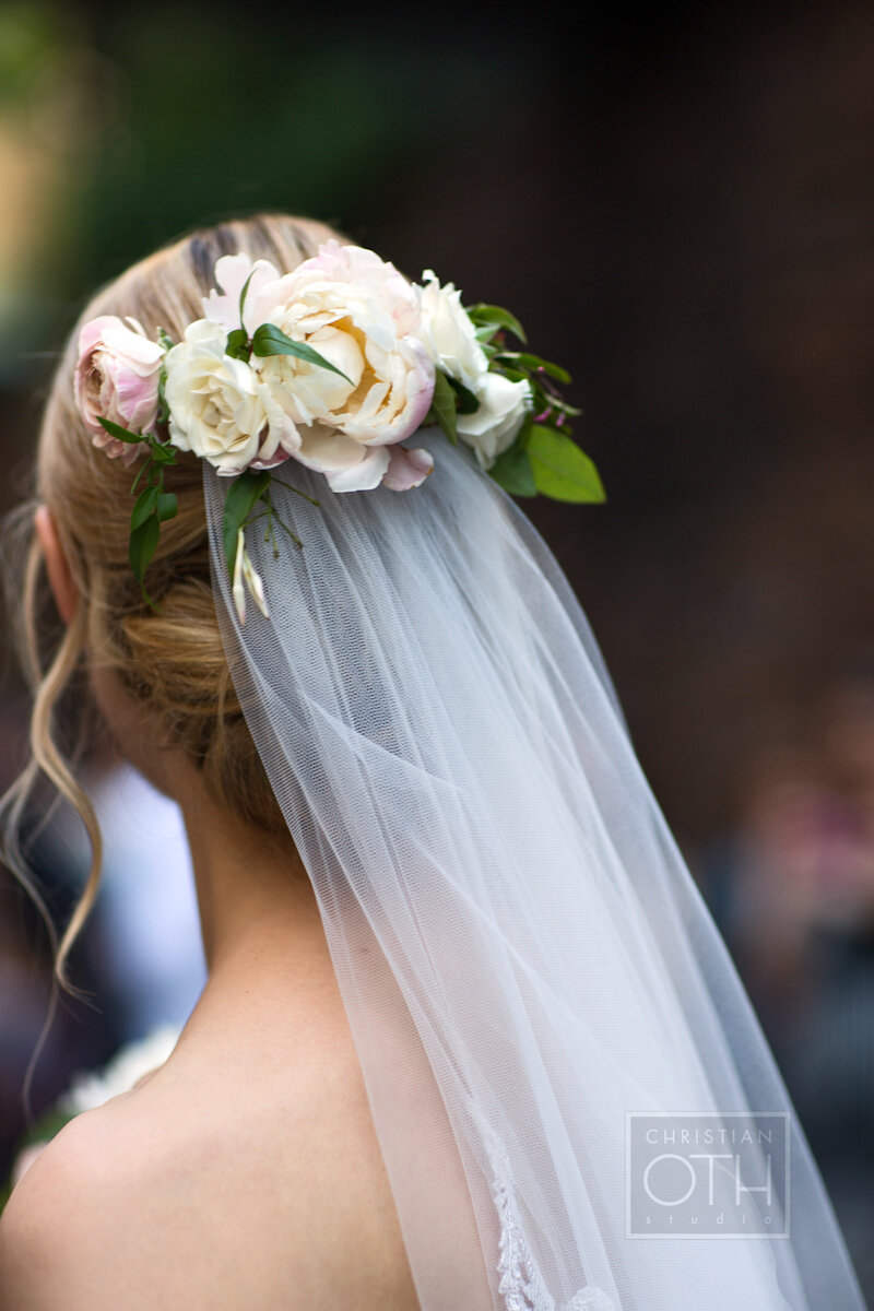 Cipriani Wall Street Wedding flowers in hair and veil