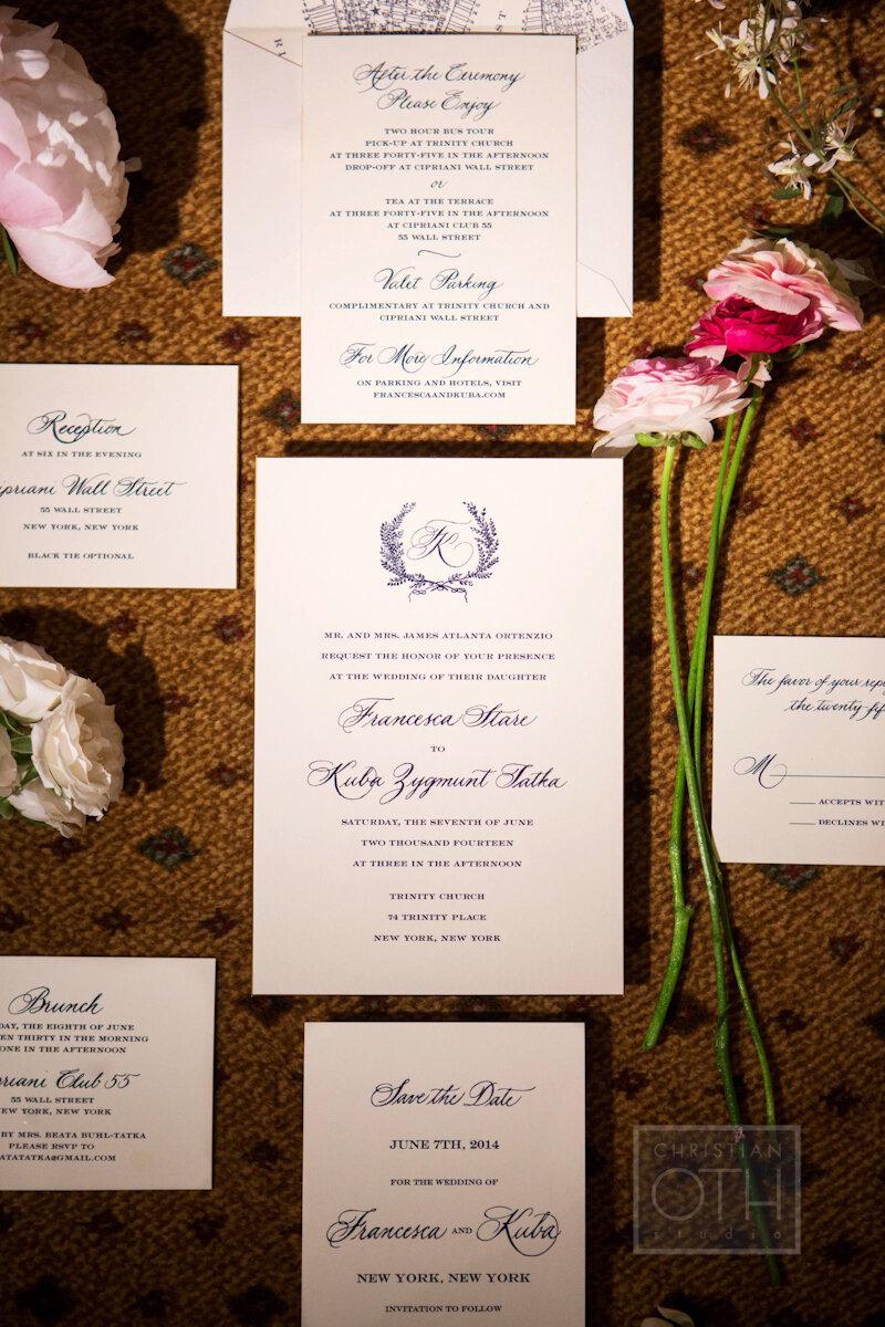 Cipriani Wall Street Wedding engraved invitation