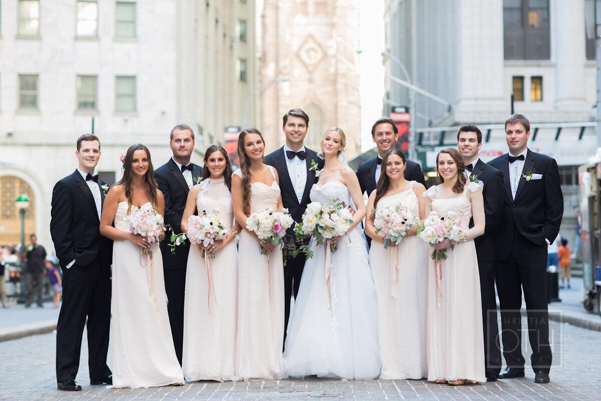 Cipriani Wall Street Wedding bridesmaids in blush