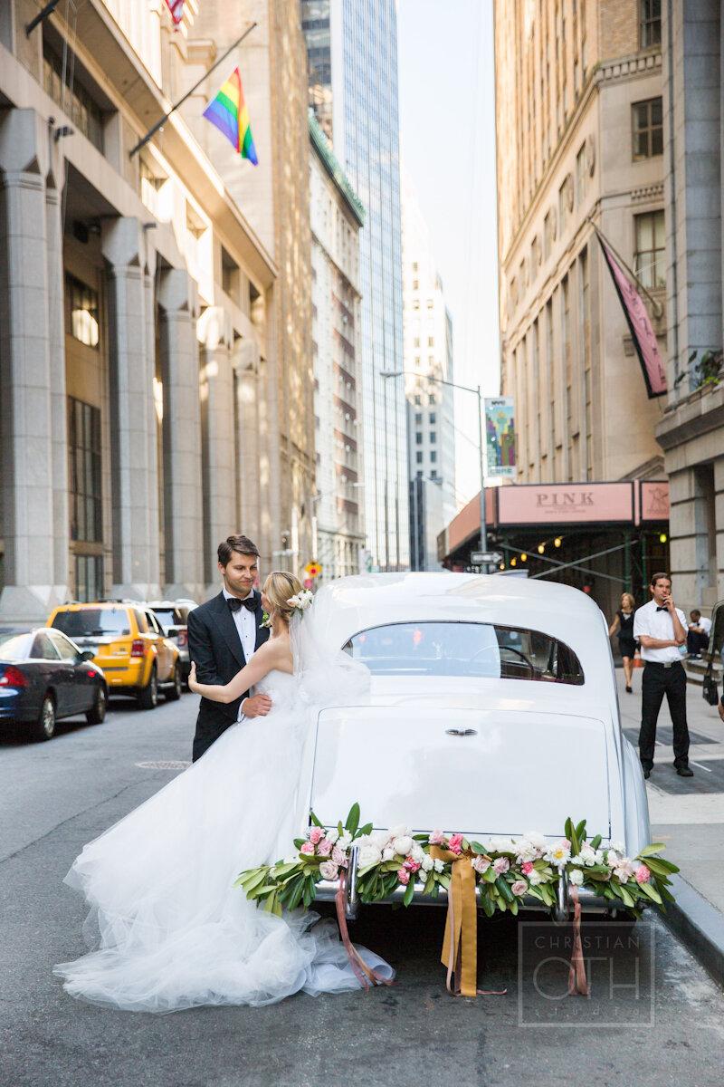 Cipriani Wall Street Wedding white rolls royce