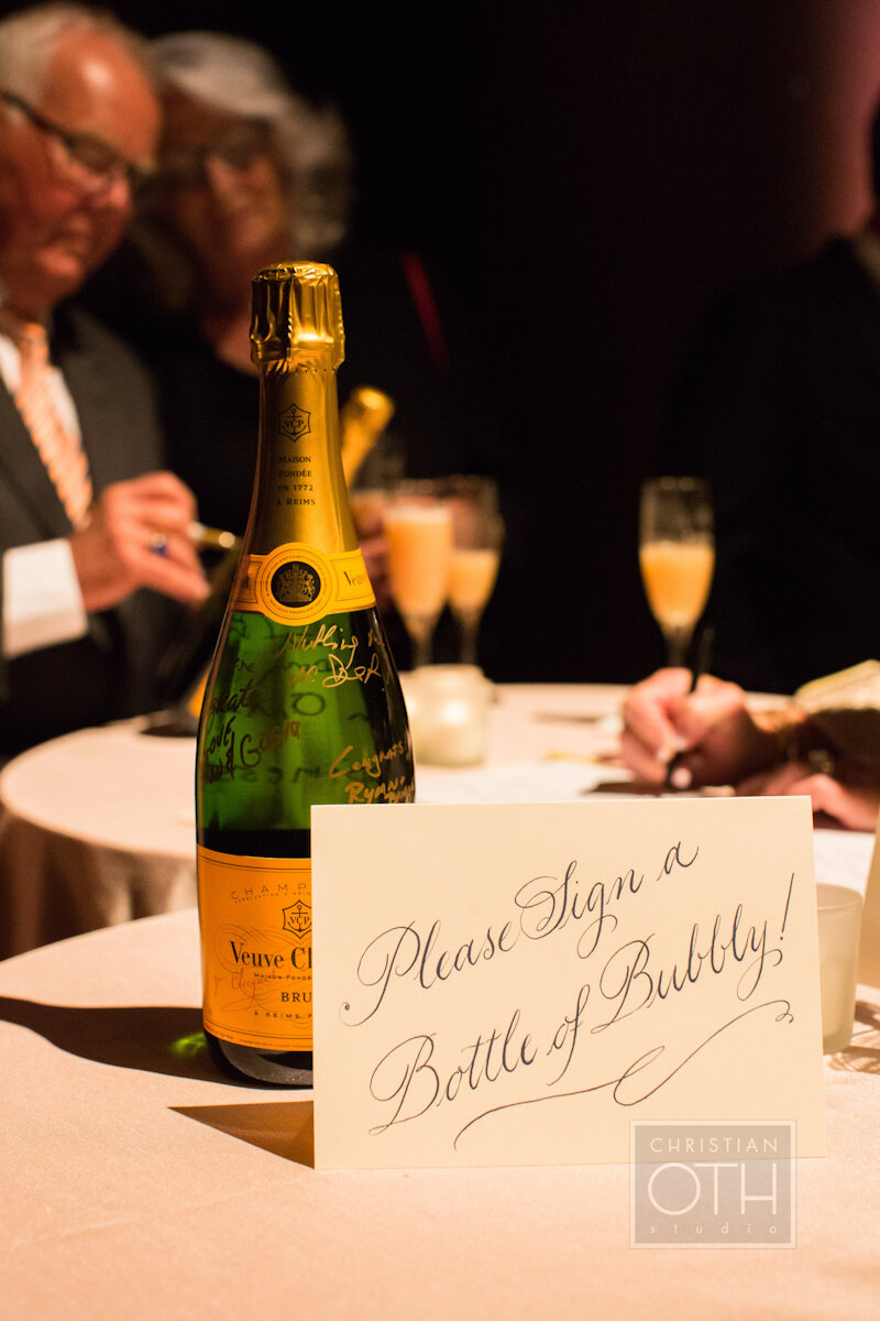 Cipriani Wall Street Wedding champagne bottle guest book