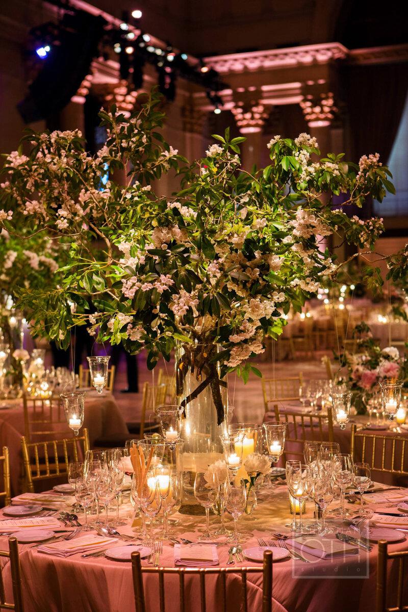 Cipriani Wall Street Wedding tall centerpiece