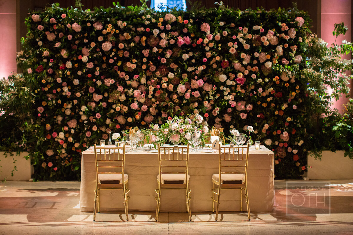 Cipriani Wall Street Wedding flower wall and head table