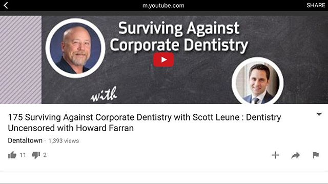 Listen to this podcast. It's easy to get caught up in the details - crown margins, interproximal contacts, shade matching. But how much time do you spend understanding our professional ecosystem and marketplace? Things are changing - it's time to pay attention to the big picture. This is a must listen - start to finish. Also - both are contributors to The New Dentist's Guide! Legends.