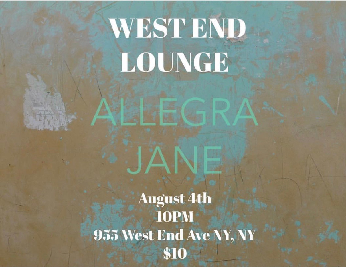 West End Lounge - Allegra Jane performed an original set off her forthcoming EP