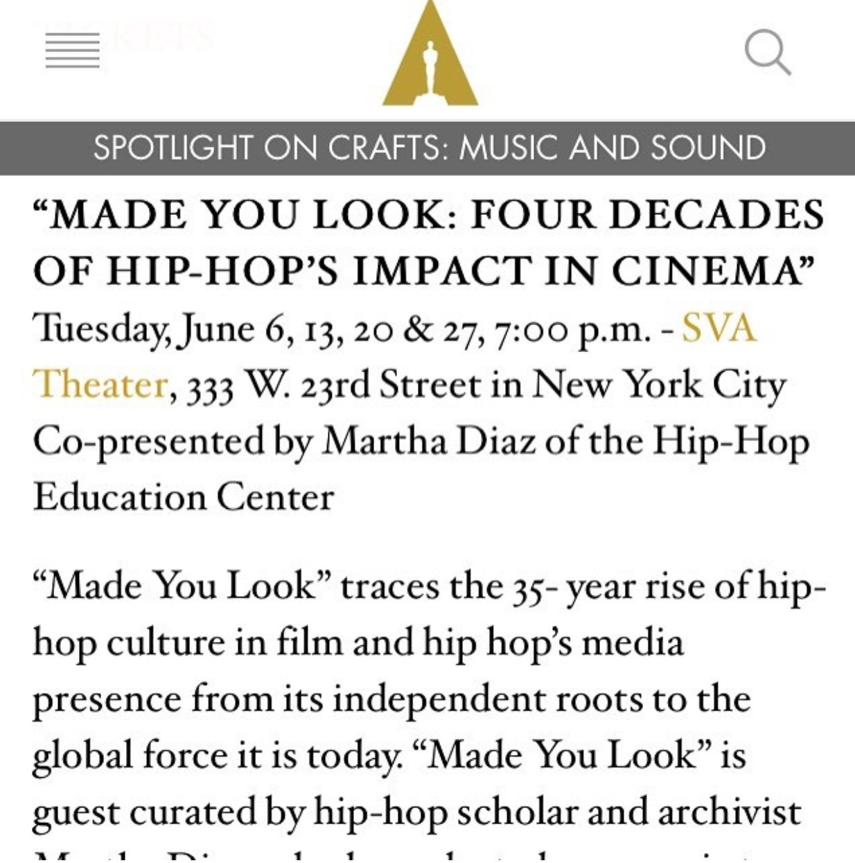 Made You Look - The Hip-Hop Education Center partnered with The Academy to present a Hip-Hop film series; Made You Look