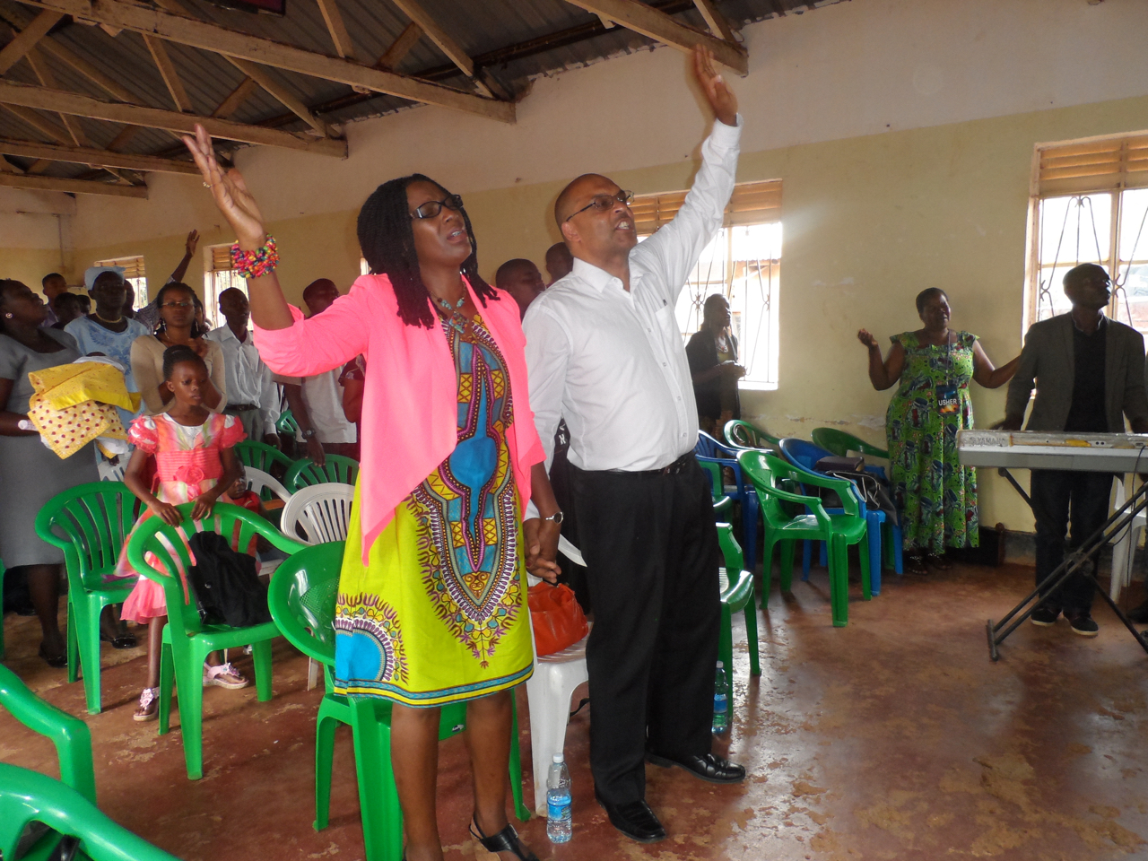 The Makintos praising God at Bombo Pentecostal Church
