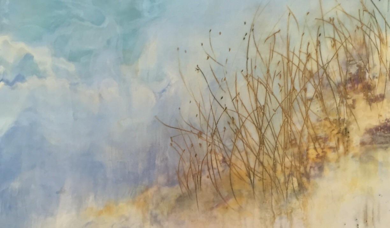 """Dunes of Gold"" Encaustic on panel. 12 X 12"