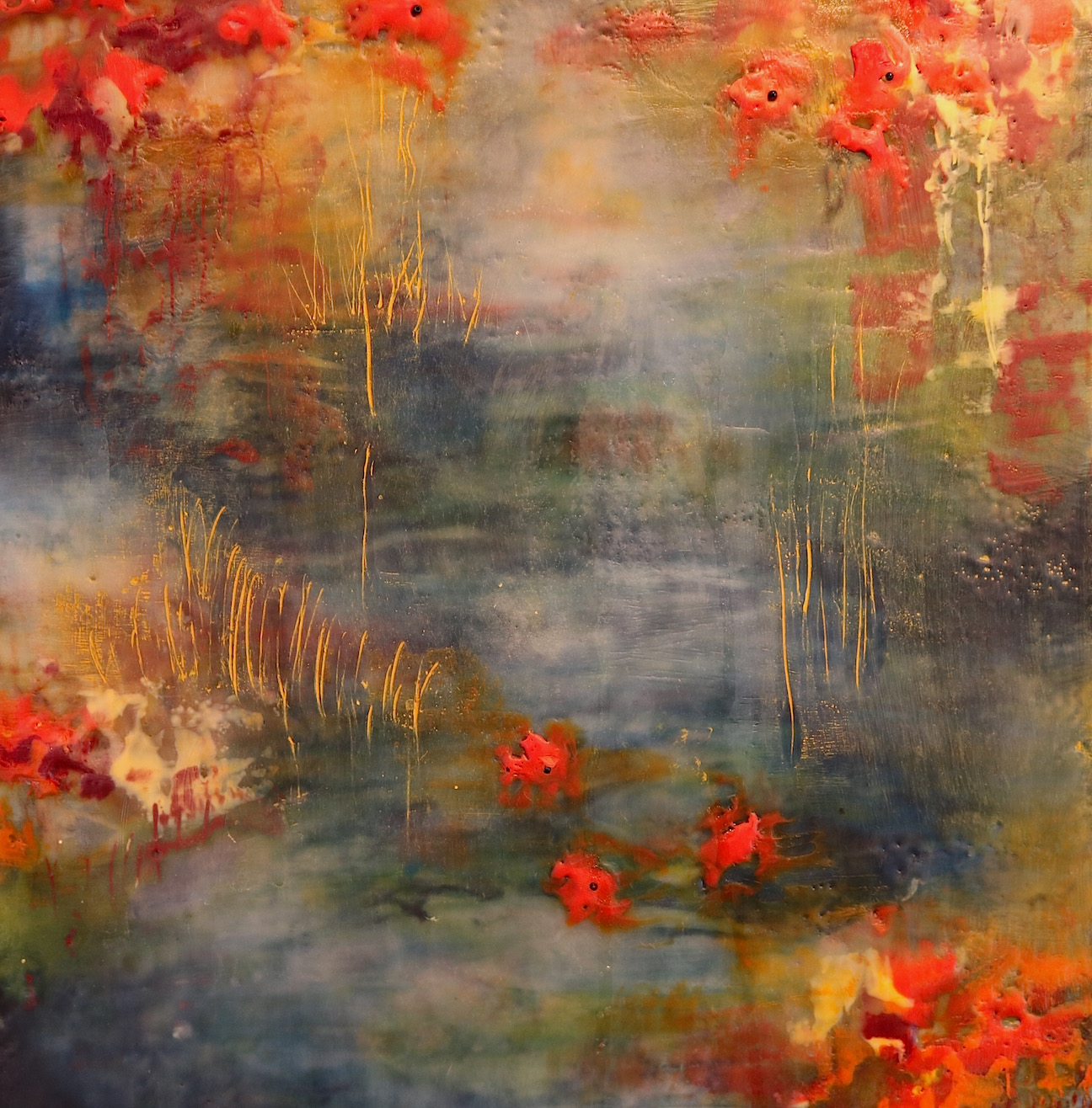 A detail from my latest encaustic painting in the 'Pond' series.