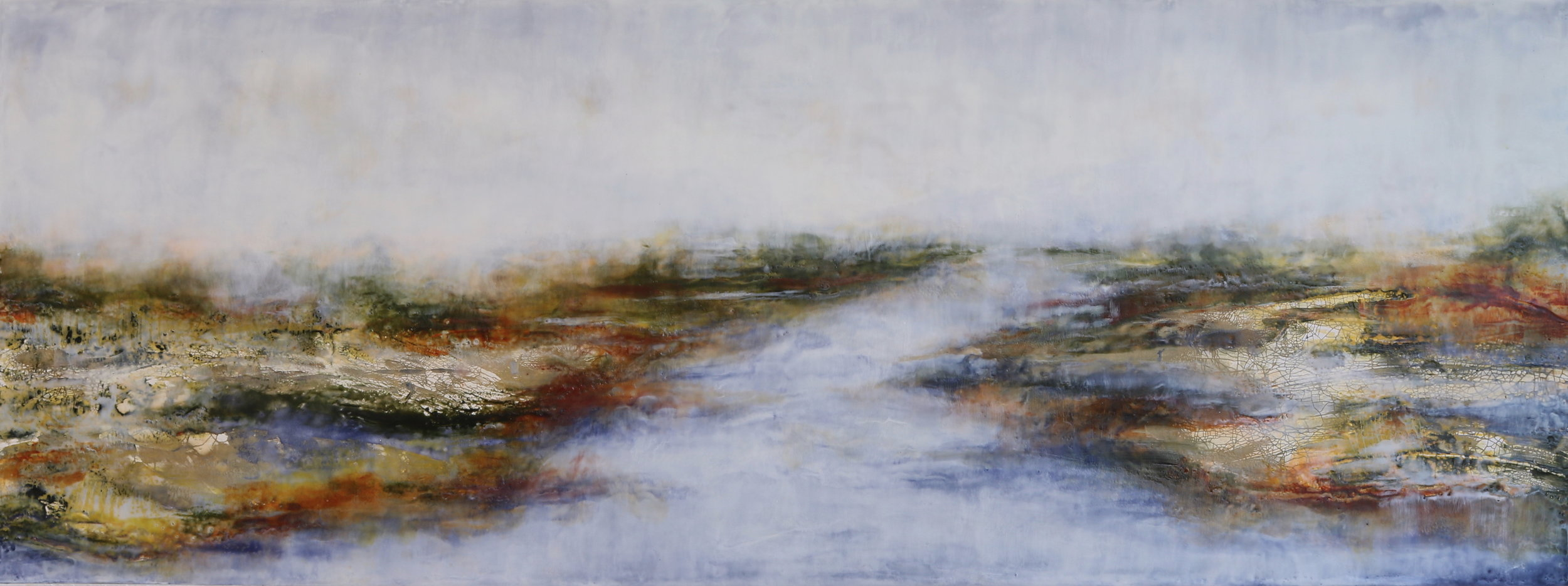 """Beyond - 18x48"""" Encaustic and Clay"""