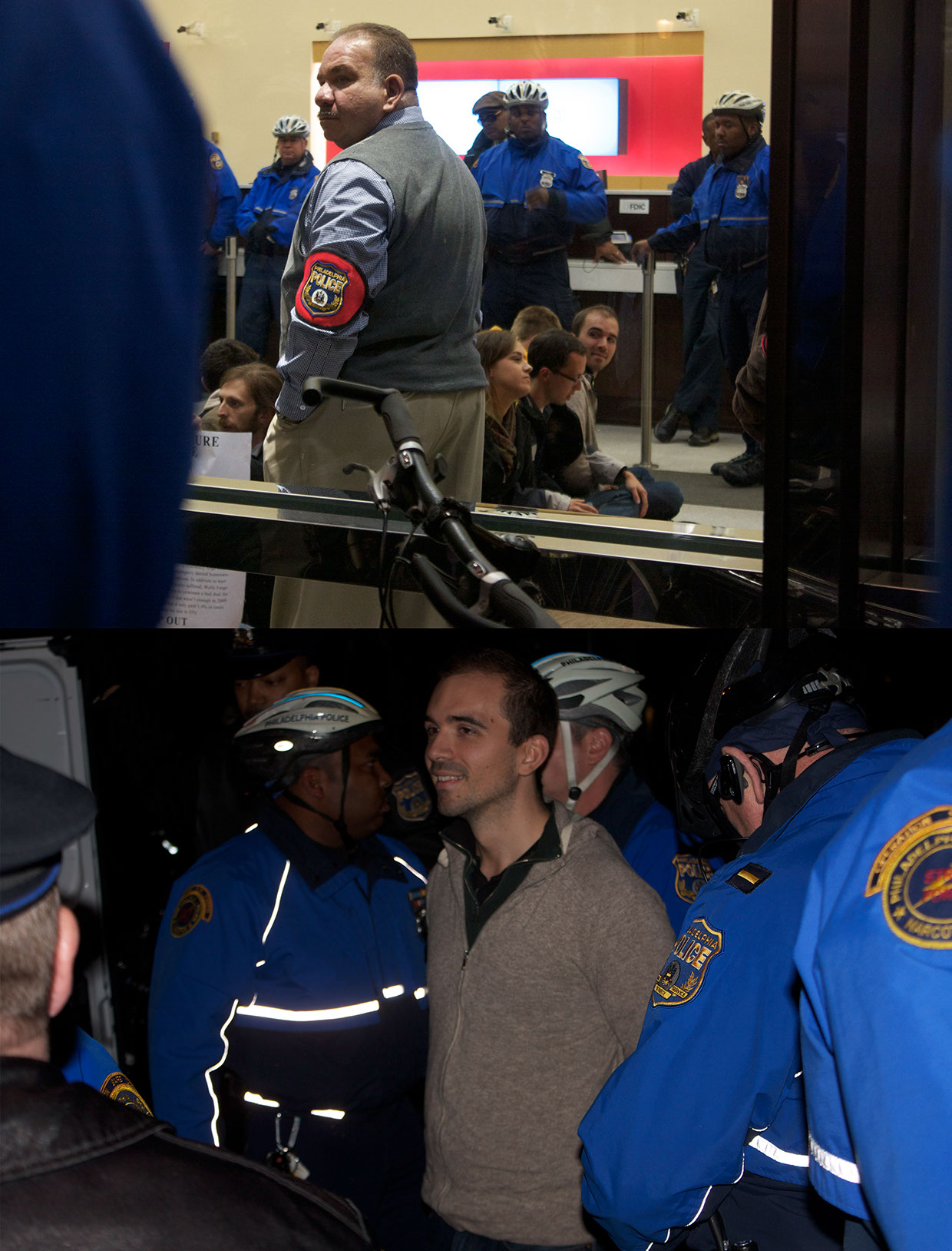 Images from arrest after mock foreclosure of a bank.