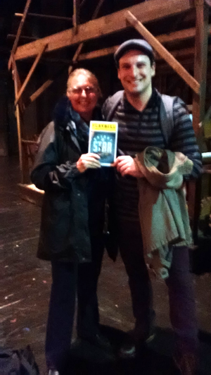 Miss Myers with Mr. Gatta on the set of Bright Star!
