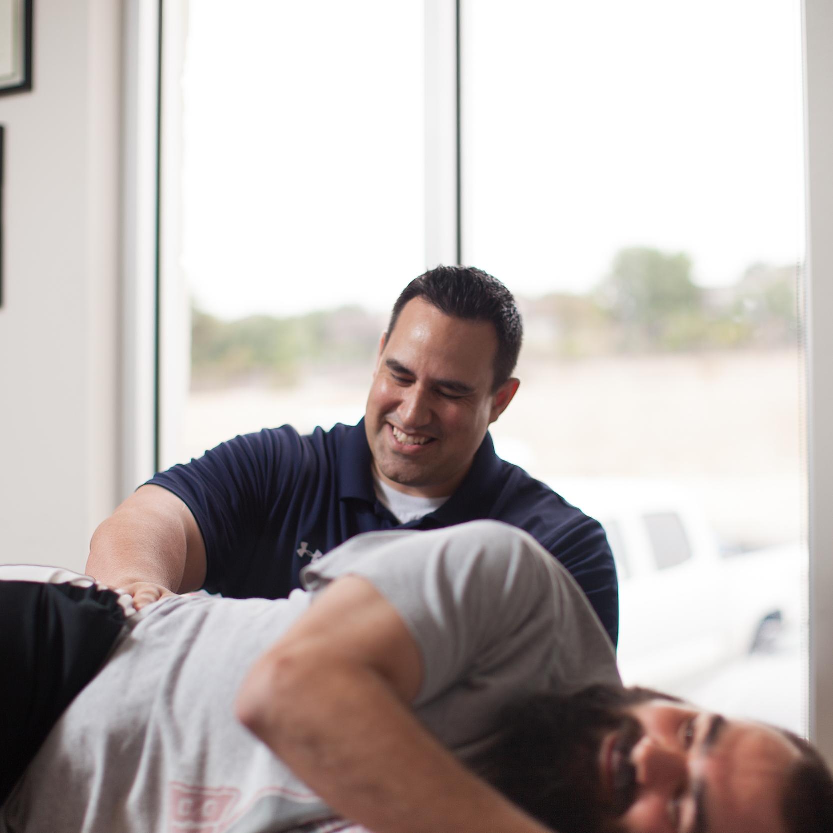 man getting chiropractic adjustment