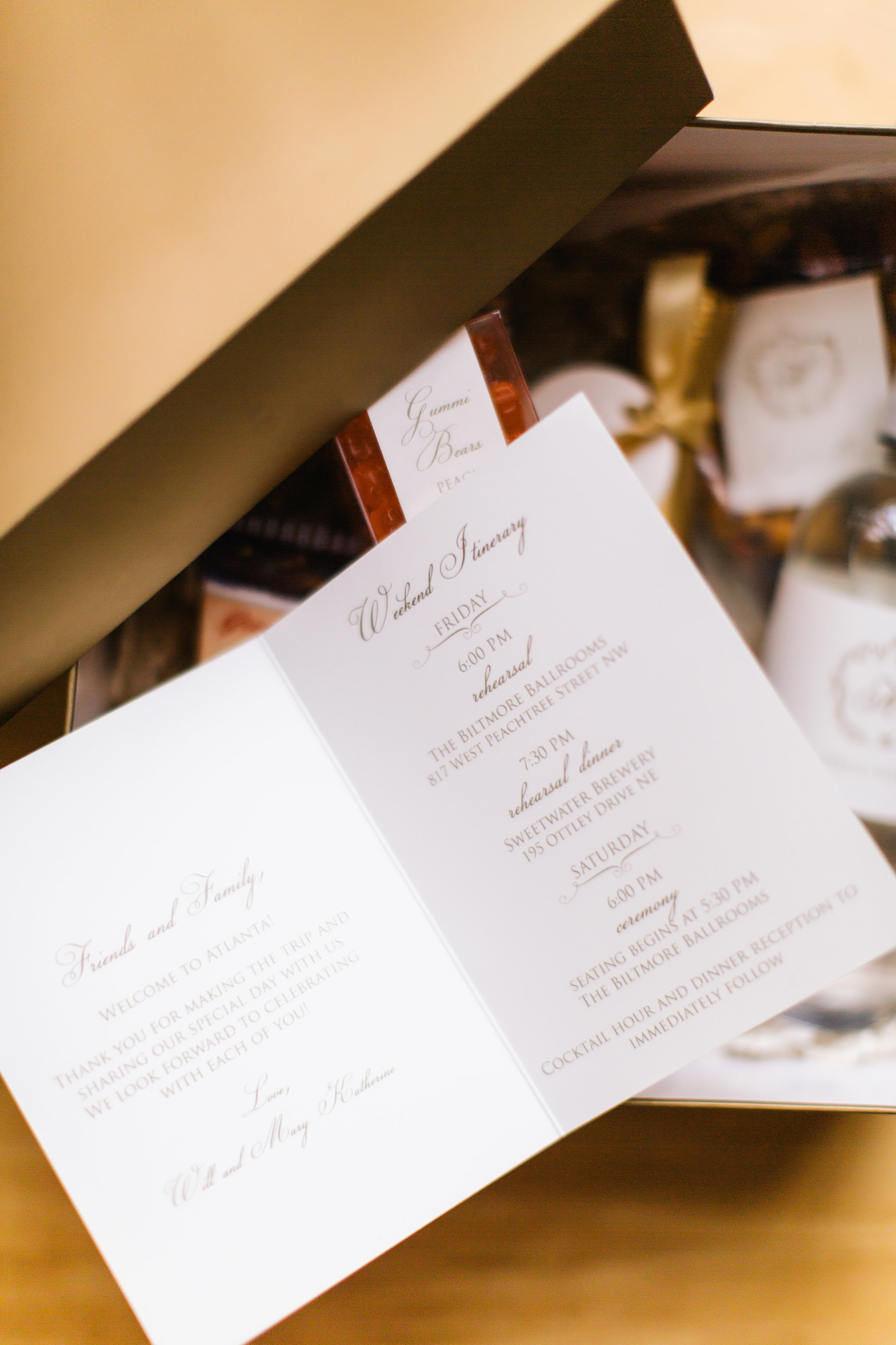 Wedding Welcome Itinerary + Gifts