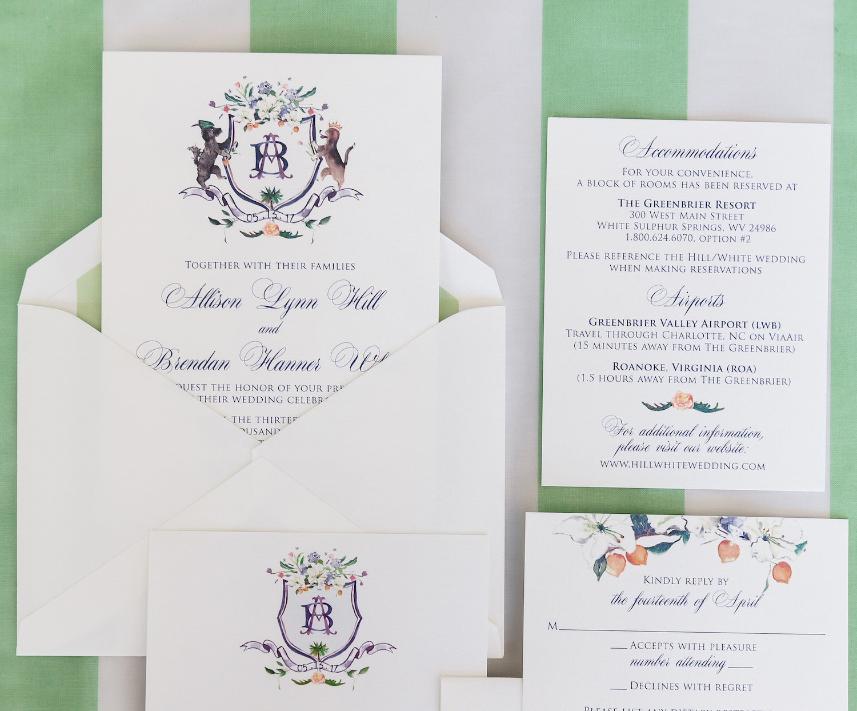 Watercolor Wedding Crest Invitations
