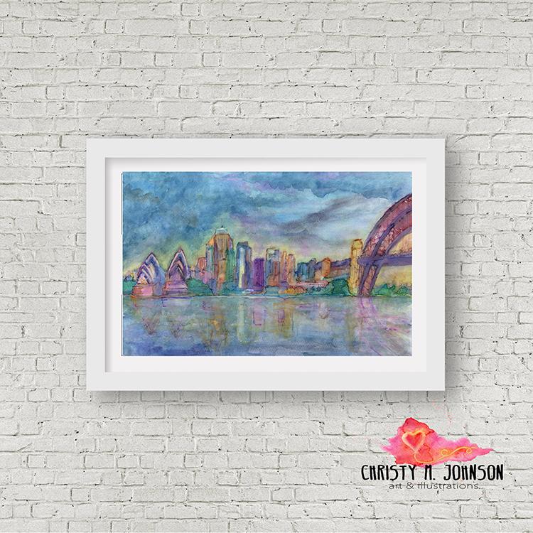 Sydney, Australia: Watercolor skyline