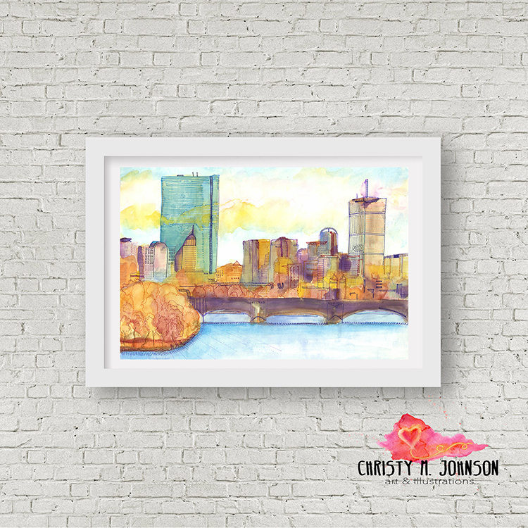 boston, MASSACHUSETTS: watercolor skyline