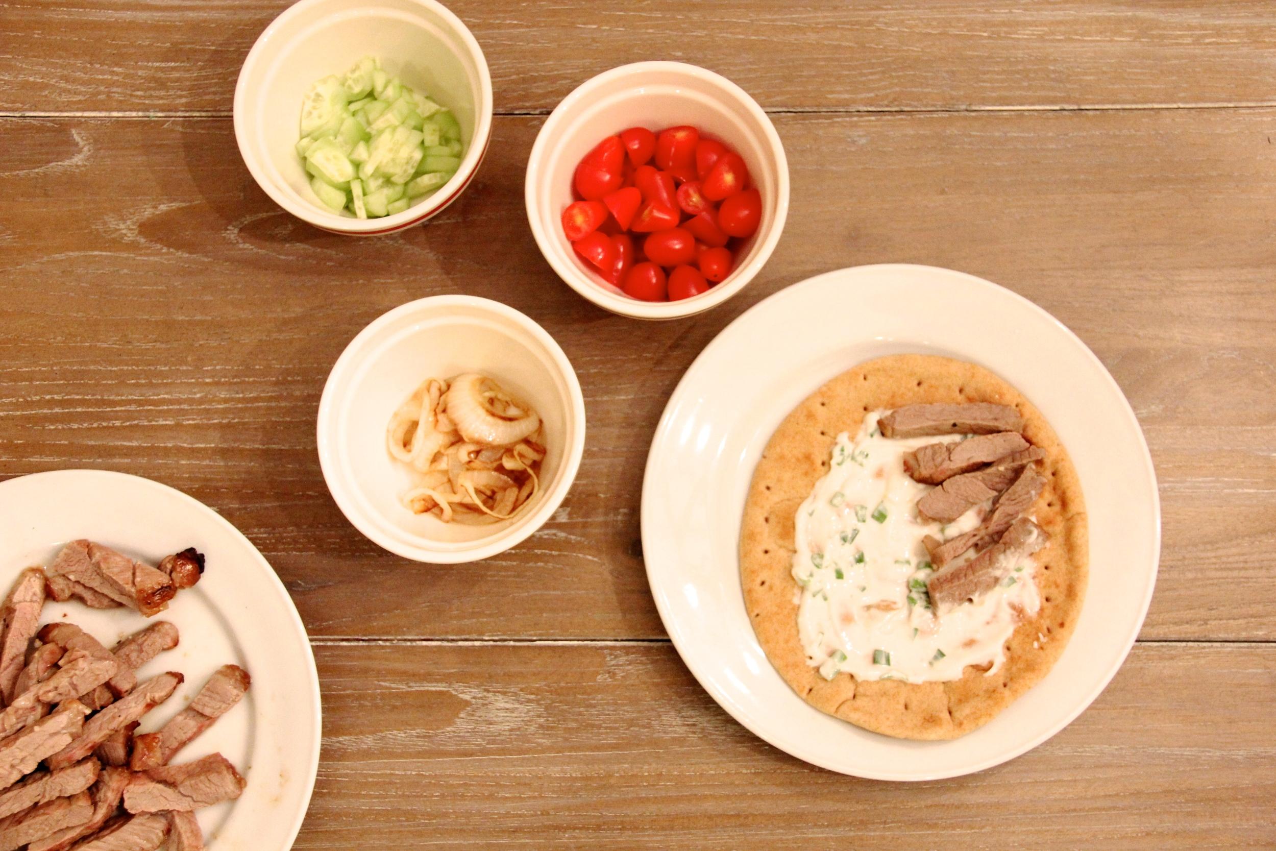 Grilled Steak Gyro Pitas