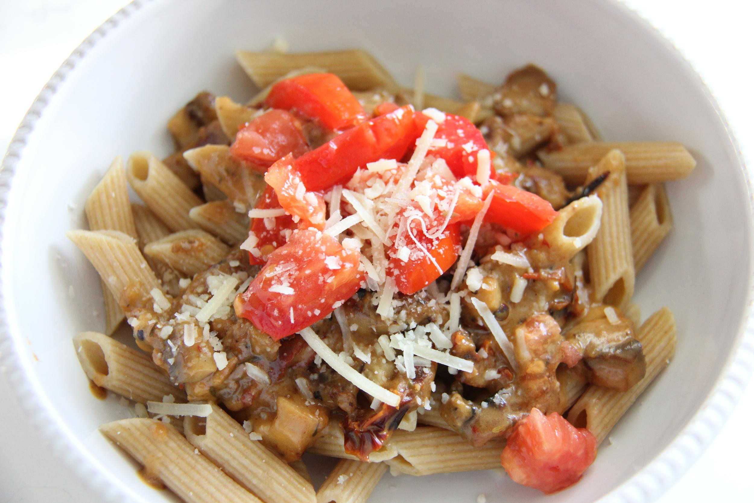 Whole Wheat Penne with Mushroom + Sun-Dried Tomato Sauce