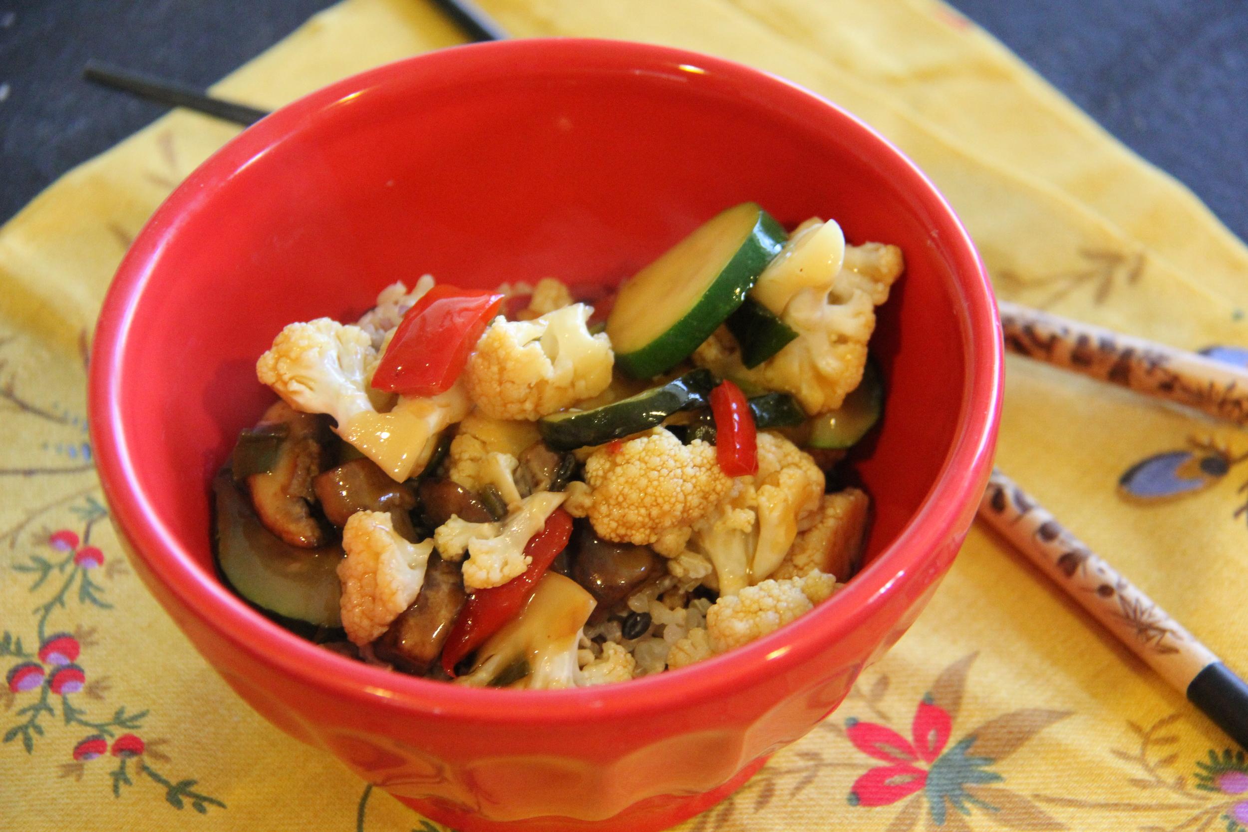 Veggie Stir-Fry Over Rice