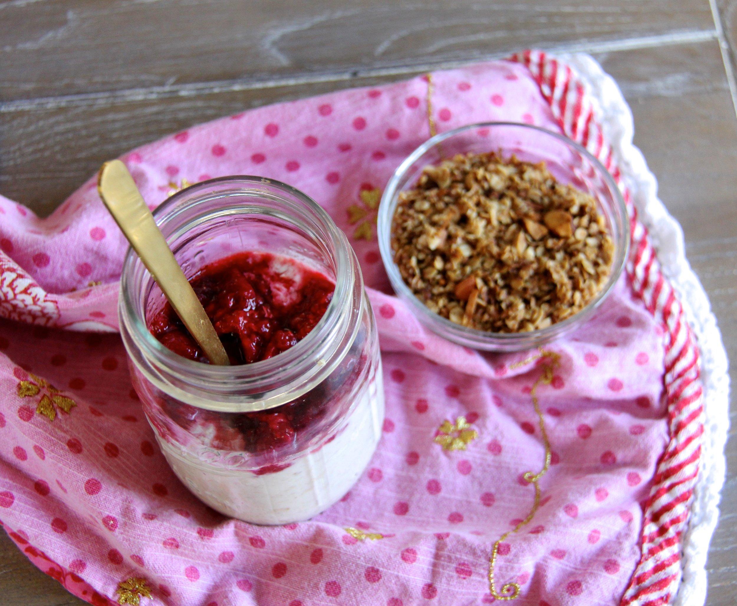 Raspberry Vanilla Overnight Oats with Almond Joy Granola