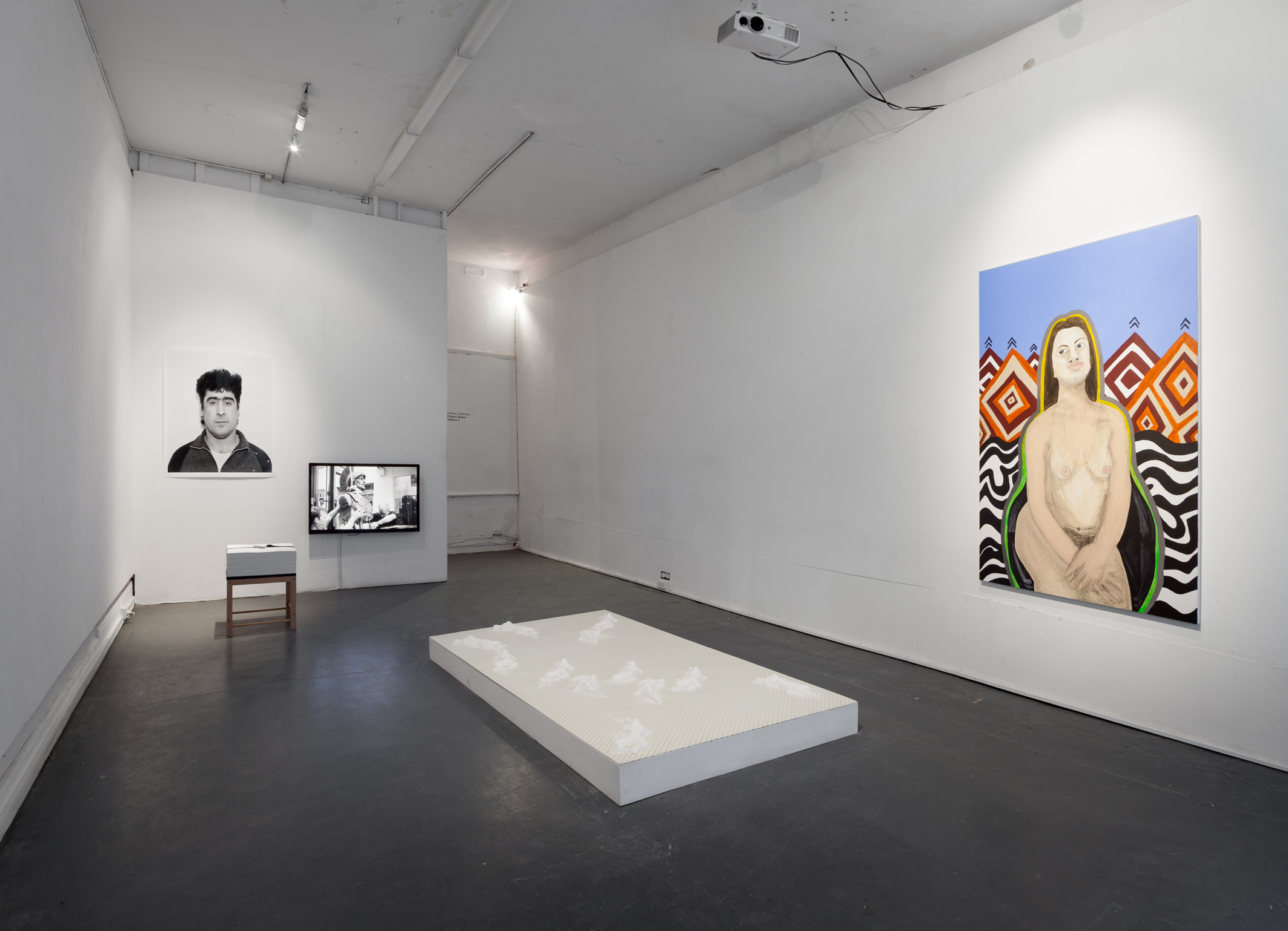 Installation shot: (L-R) Nikos Pantazopoulos, We were here, 2014; Julie Shiels, Things fall apart, 2013; Steaphan Paton, Poor white fellas, 2014. Photo Credit: Christo Crocker.