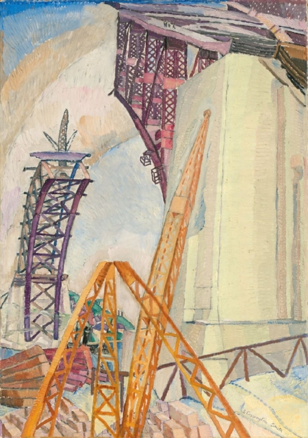 Grace Cossington Smith  The bridge in building , 1929 oil on pulpboard 75 x 53 cm National Gallery of Australia Gift of Ellen Waugh 2005 © Estate of Grace Cossington Smith