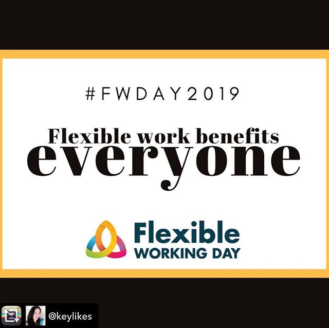 "Repost from @keylikes - I've been lucky to have had flexible work around the kids the past 13 years, either due to  understanding bosses, workplaces or clients 😊 ""Flexible Work Benefits Everyone"" #fwday2019"