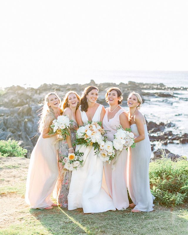Natalie and her girlfriends on the rocky Kapalua Bay, kissed by golden sunset light. ⠀⠀⠀⠀⠀⠀⠀⠀⠀ #natalieandhoustongetmauid Featured on @stylemepretty Edited with @noblepresets ⠀⠀⠀⠀⠀⠀⠀⠀⠀ Planning: @lvlweddings  Venue: @montagekapalua  Floral Design: @wildheartflowers  Photography: @the_grovers  Video: @fisheyestudio  Cake: @mauisweetcakes  Live Entertainment: #mailaandben  DJ: @mauidjservices  Rentals: @paradiseeventrentals, @hawaiianrents, @setmaui, @maui_rents  H&M: @rydashn  Calligraphy: @missbcalligraphy  Paper Goods: @paperaffairdallas . . . . . #risingtidesociety #communityovercompetition #filmphotographer #weddingphotographer #filmisnotdead #thefilmcommunity #hybridphotography #hybridshooter #ishootfilm #fineartfilm #mediumformat #shootfilm #fineartweddings #weddingphotographer  #hybridphotographer #lovefilm #justmauied #mauimontage #montagewedding #hawaiiwedding #hawaiiweddingphotographer #bridesmaids #mauiphotographer #kapaluabay #montage #beachwedding #noblepresets #presets