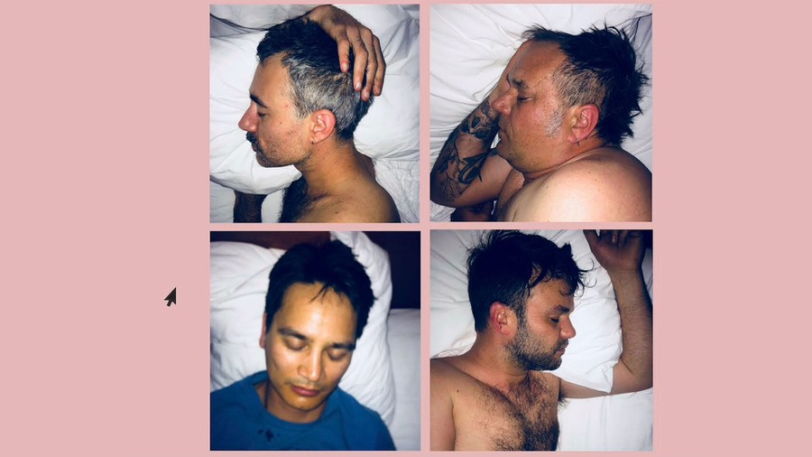 Four photos in a grid against a pink background, each photo is a member of FET.NAT asleep in a bed.