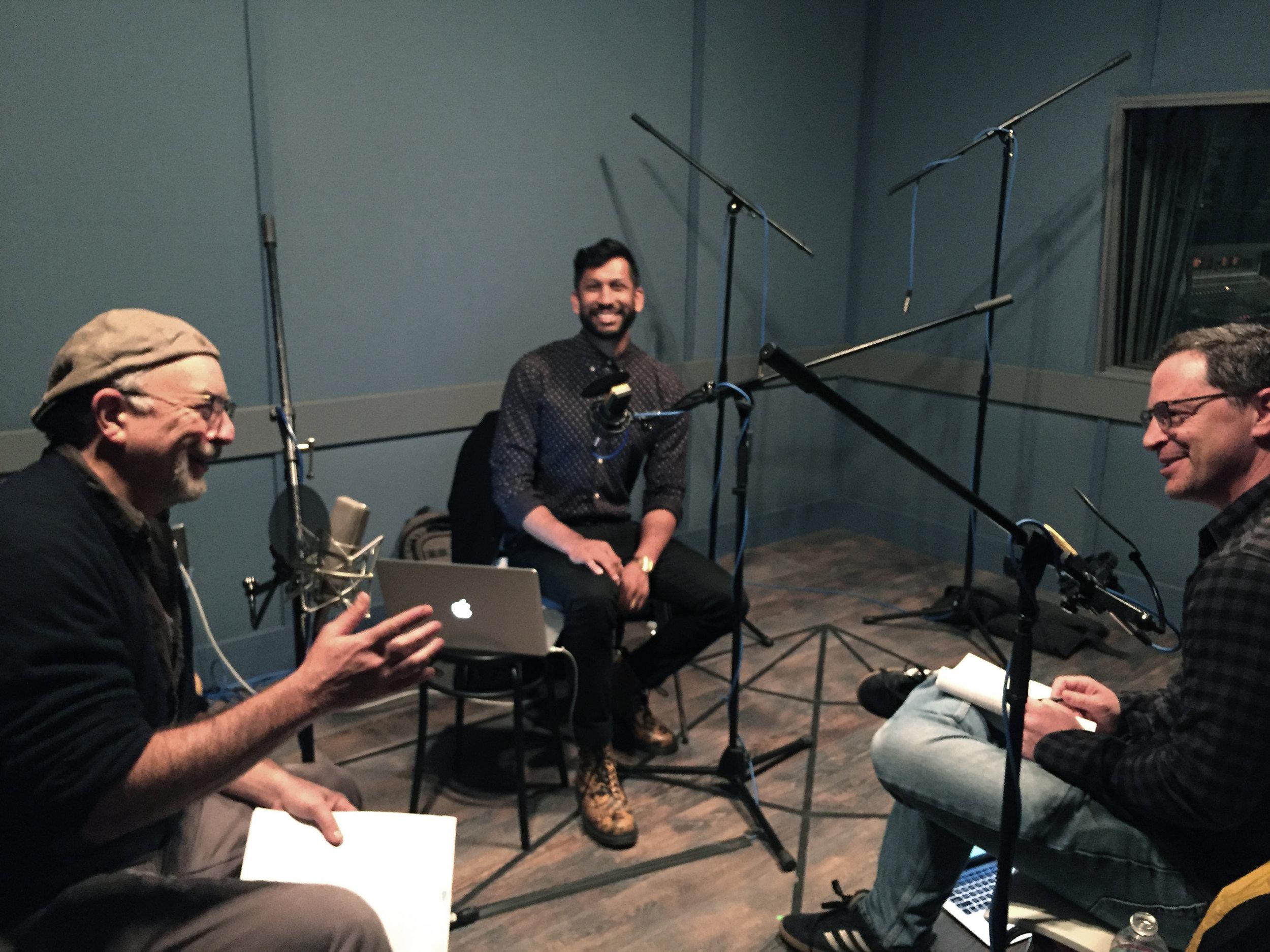 Richard, Hrishikesh, and Joshua in the studio.